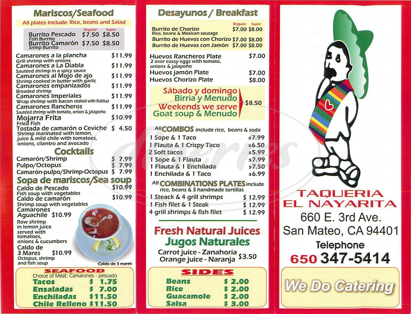 menu for Taqueria el Nayarita