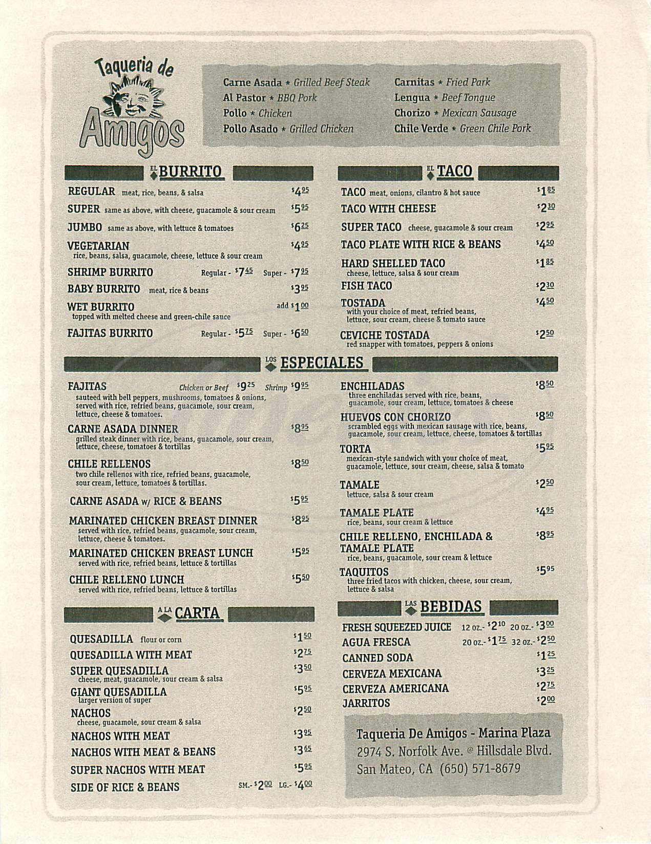menu for Taqueria de Amigos
