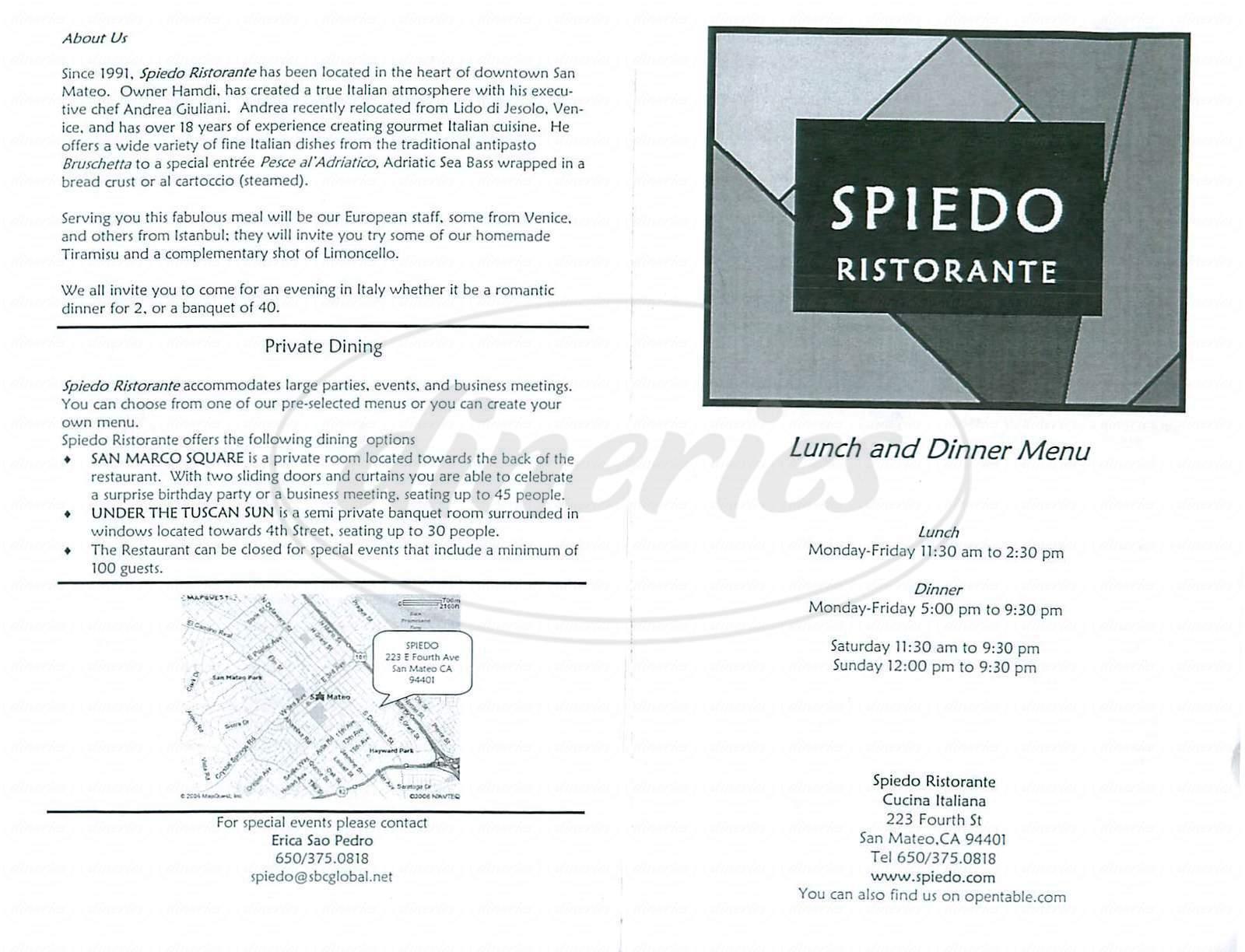 menu for Spiedo Ristorante