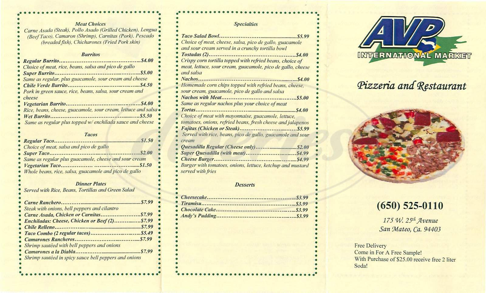 menu for AVP International Market