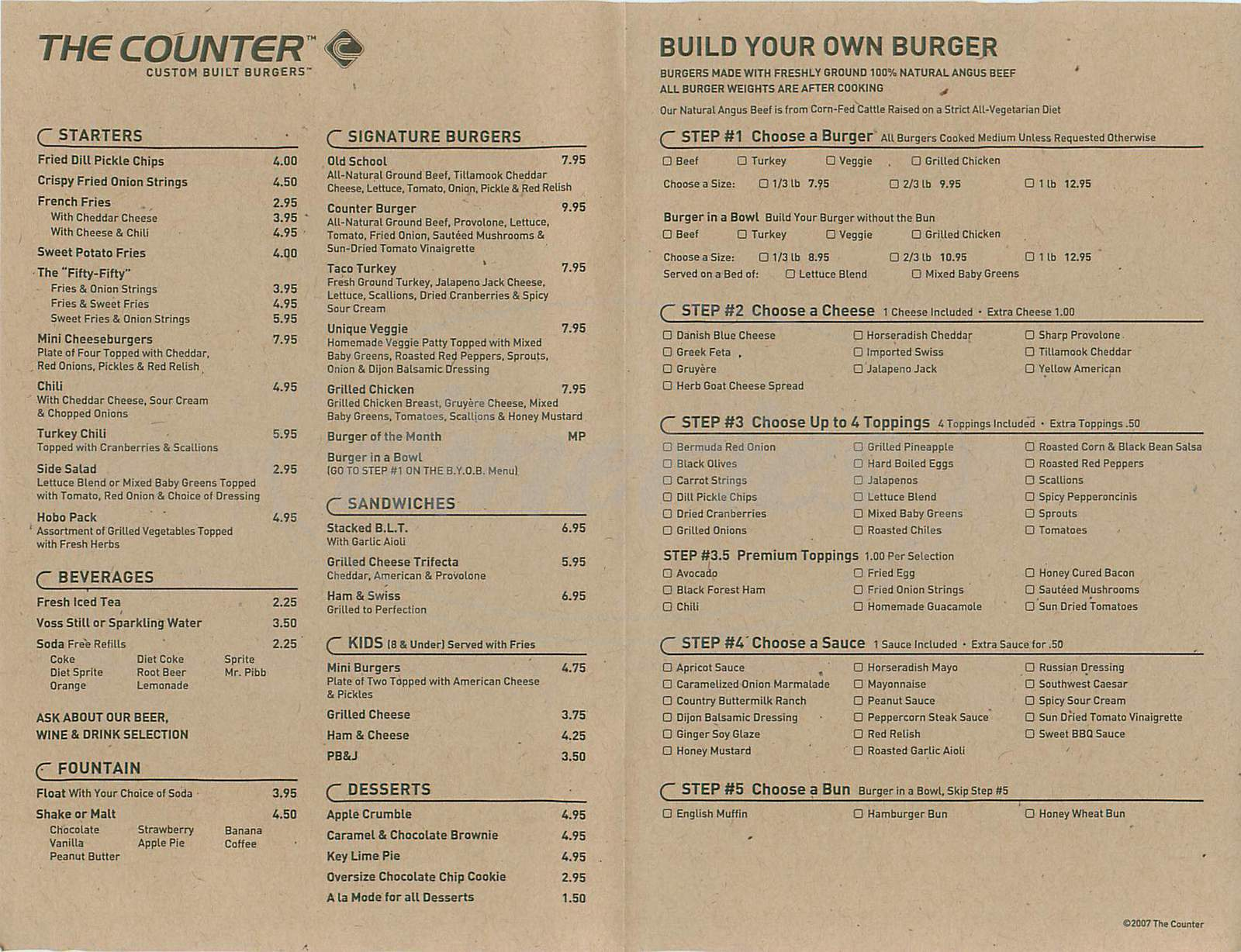 menu for The Counter