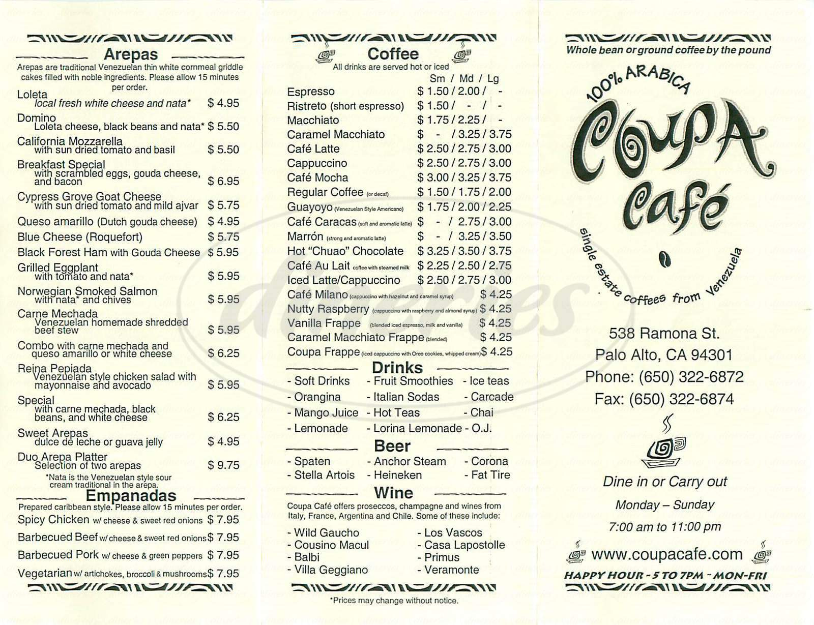 menu for Coupa Cafe