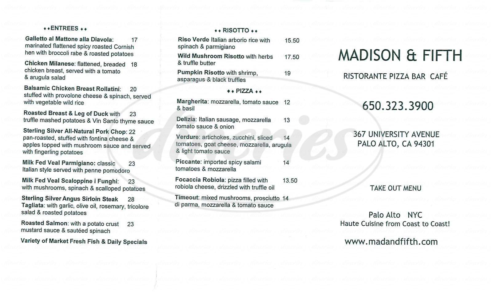 menu for Madison & Fifth