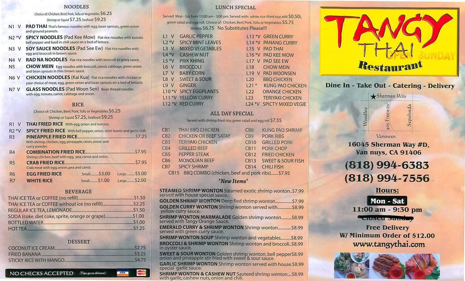 menu for Tangy Thai