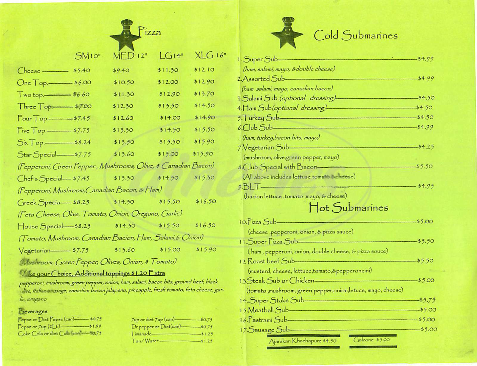 menu for Star Pizza & Sub