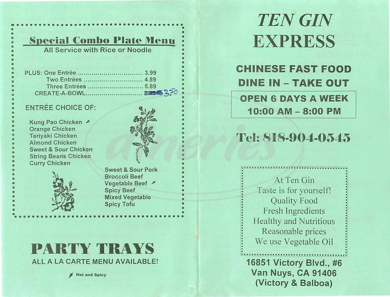 menu for Ten Gin Express