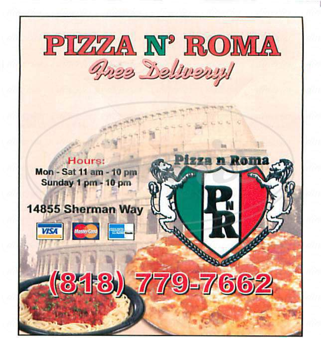 menu for Pizza N Roma