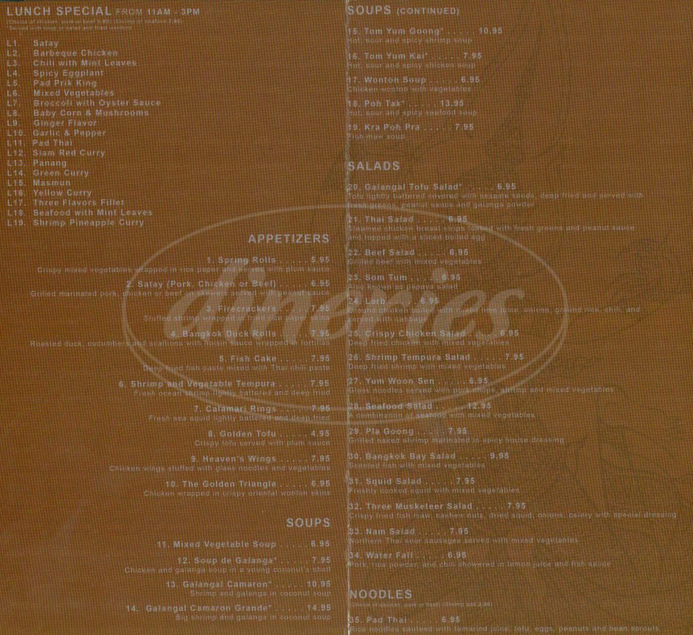 menu for Magic Thai