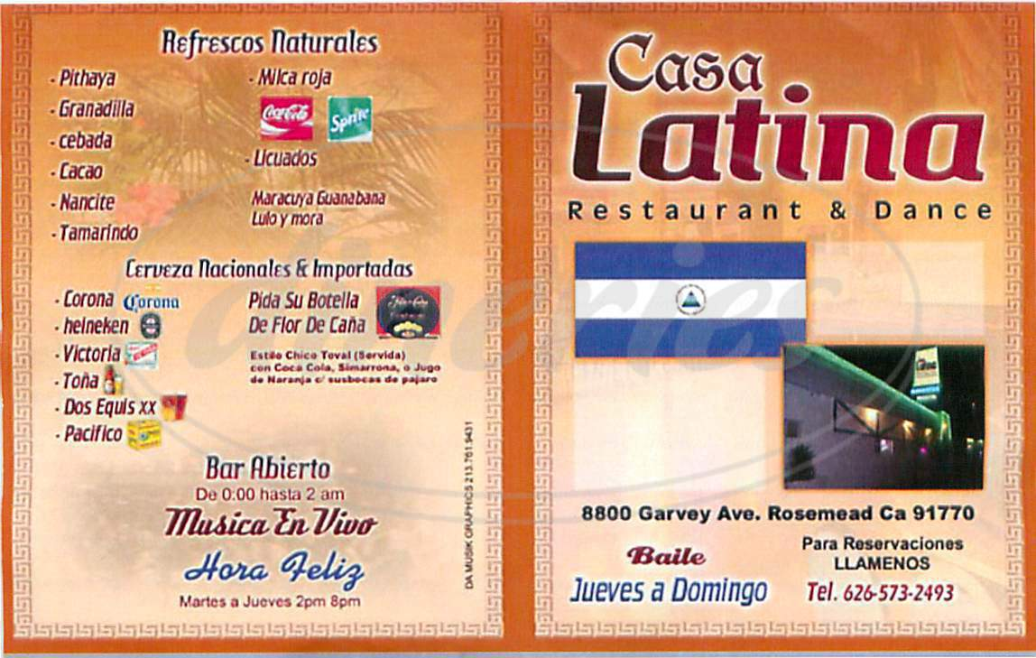 menu for Casa Latina