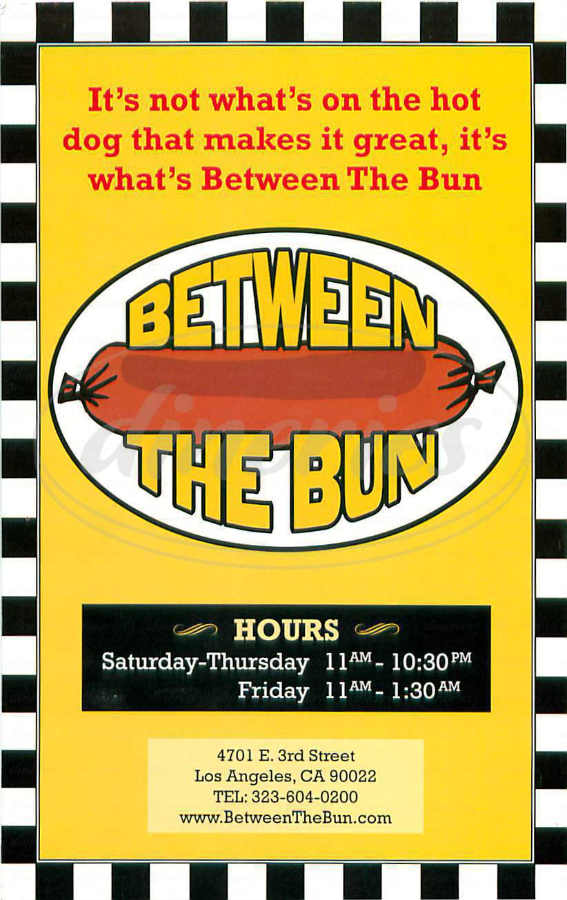 menu for Between the Bun