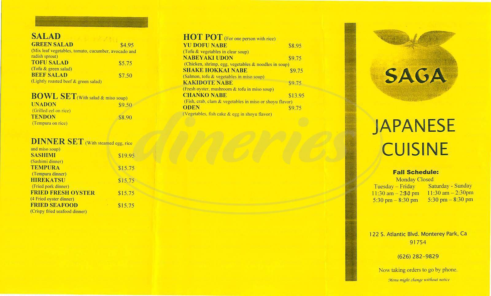 menu for Saga Japanese Cuisine