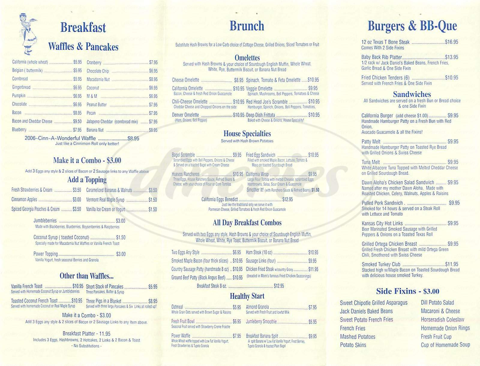 menu for Waffle Lady
