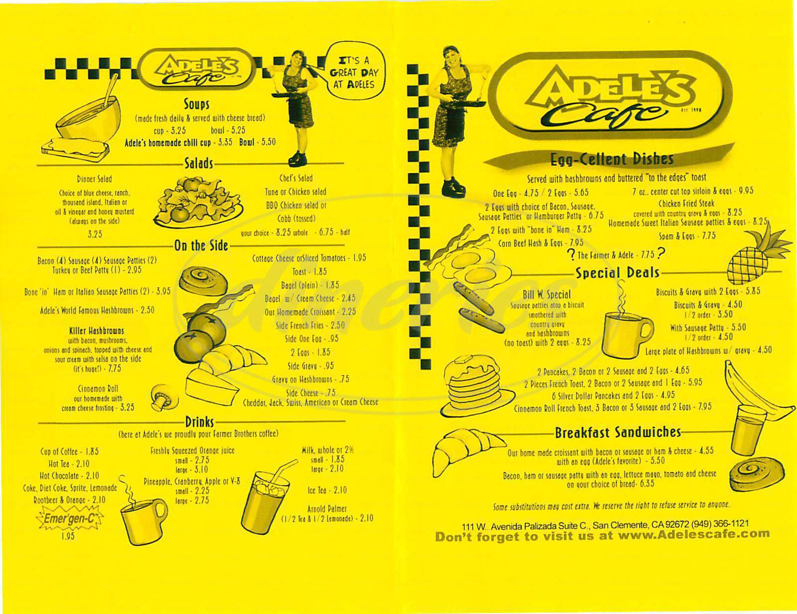 menu for Adele's Cafe