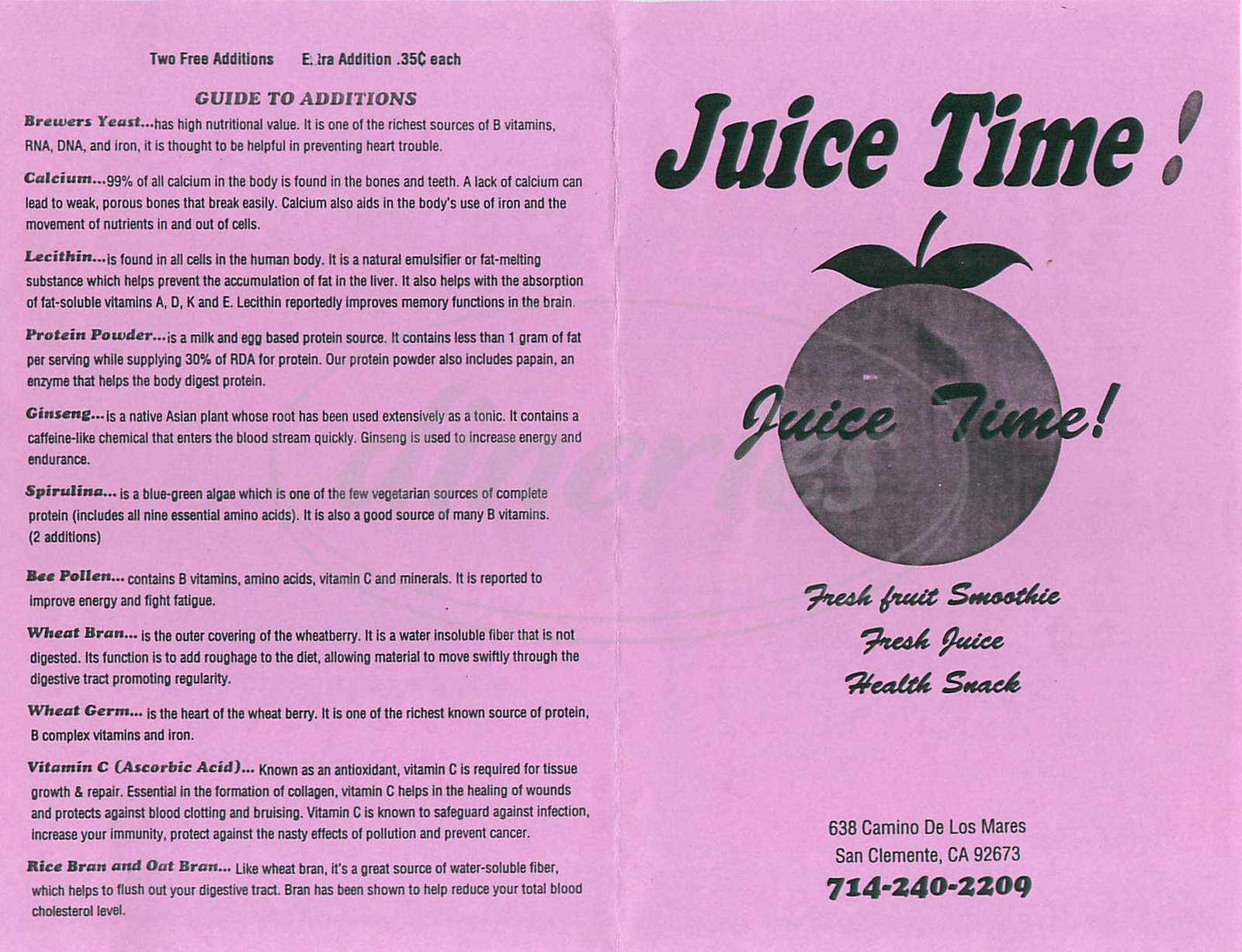 menu for Juice Time