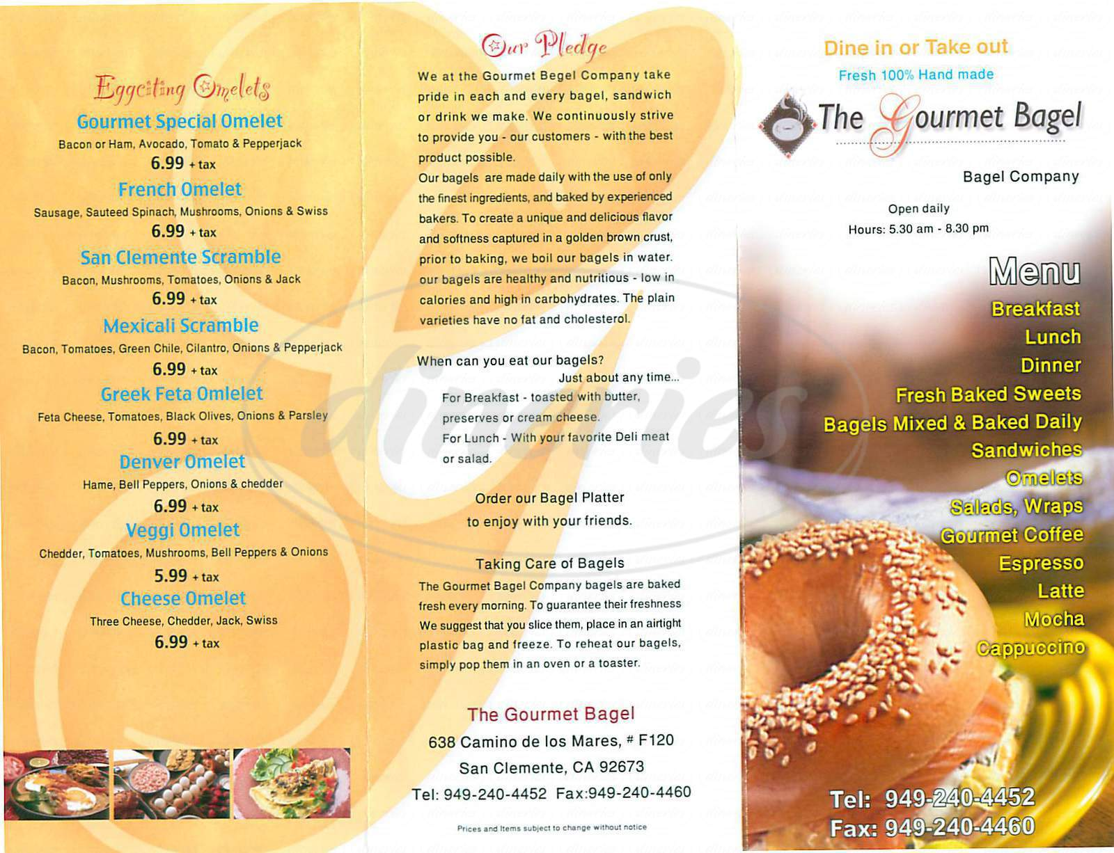 menu for The Gourmet Bagel