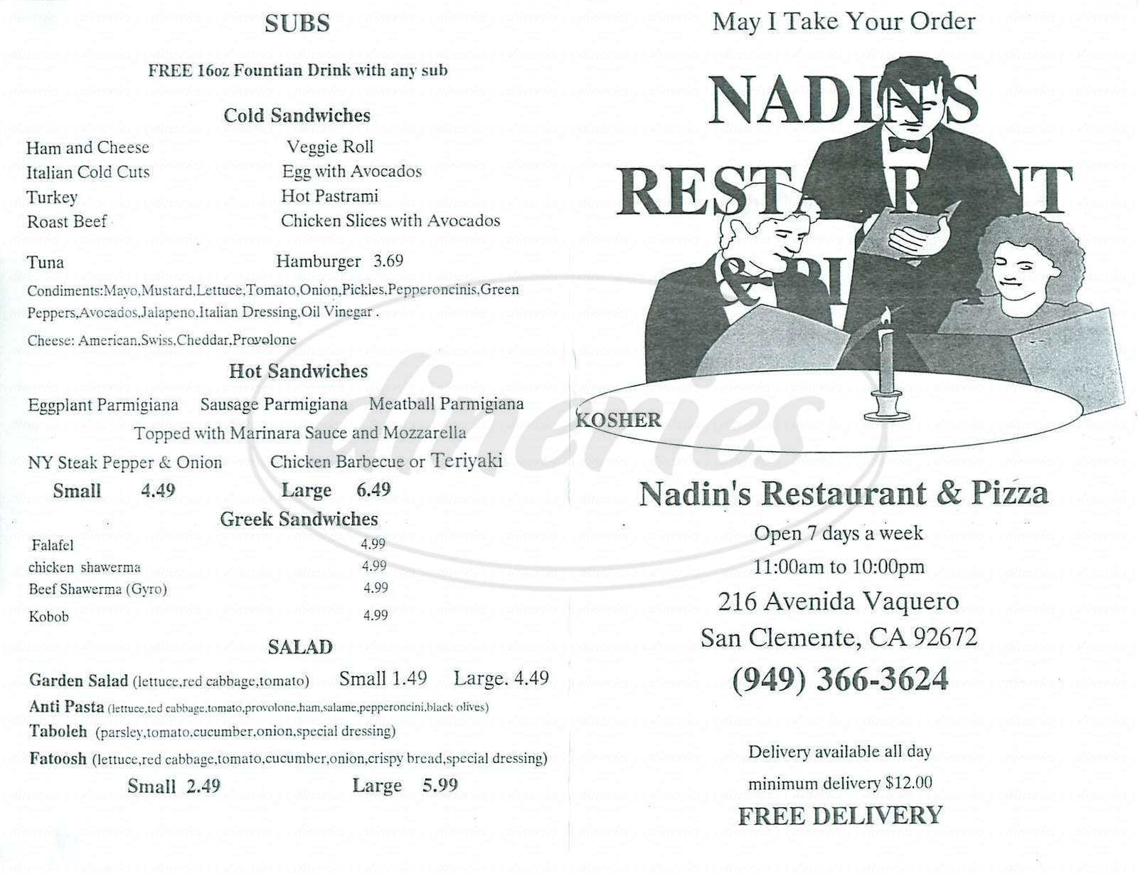 menu for Nadin's Restaurant