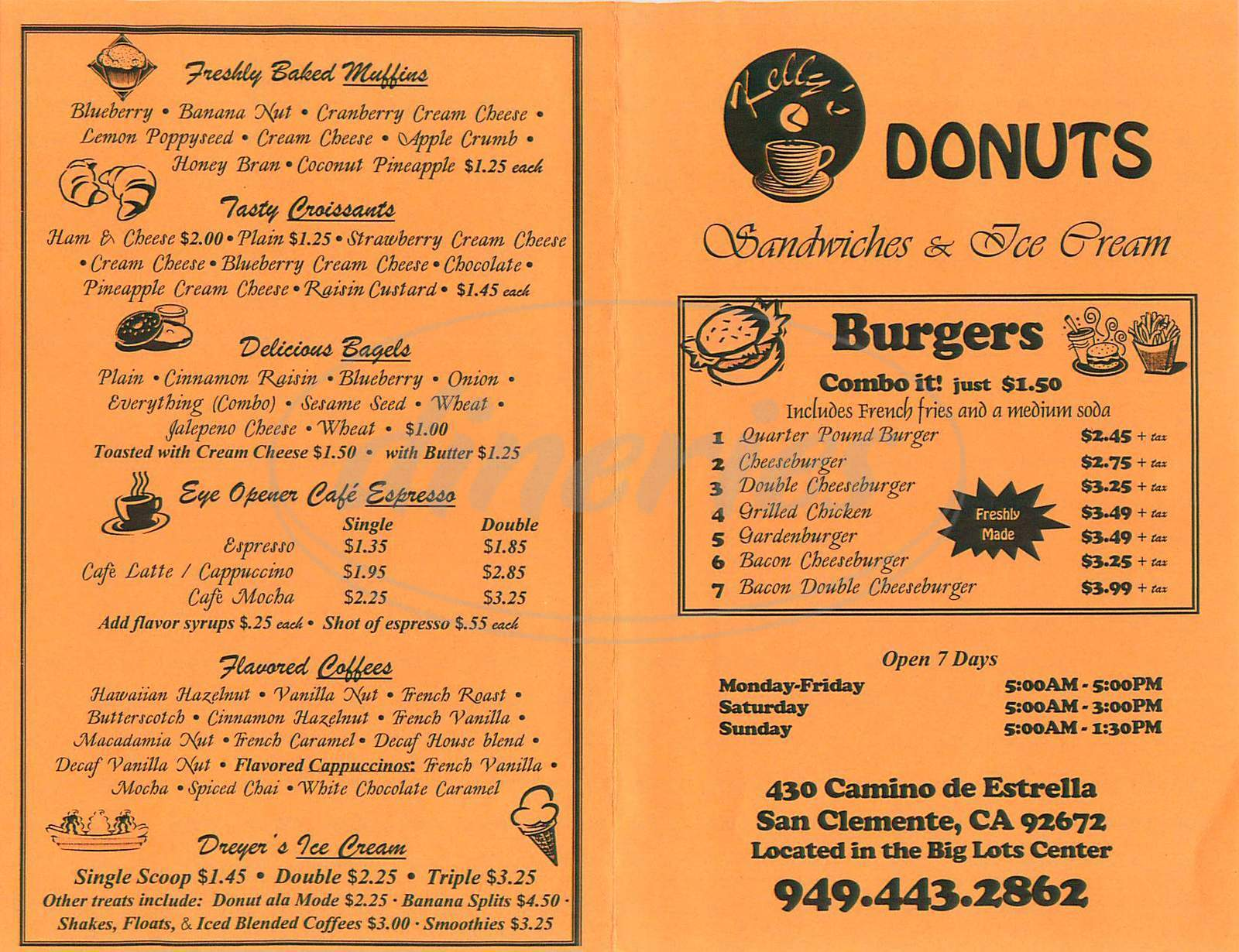 menu for Kelly's Donuts Sandwiches & Ice Cream