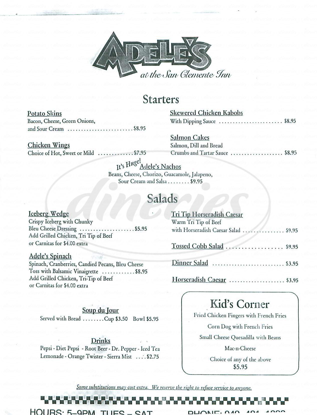 menu for Adele's at the San Clemente Inn