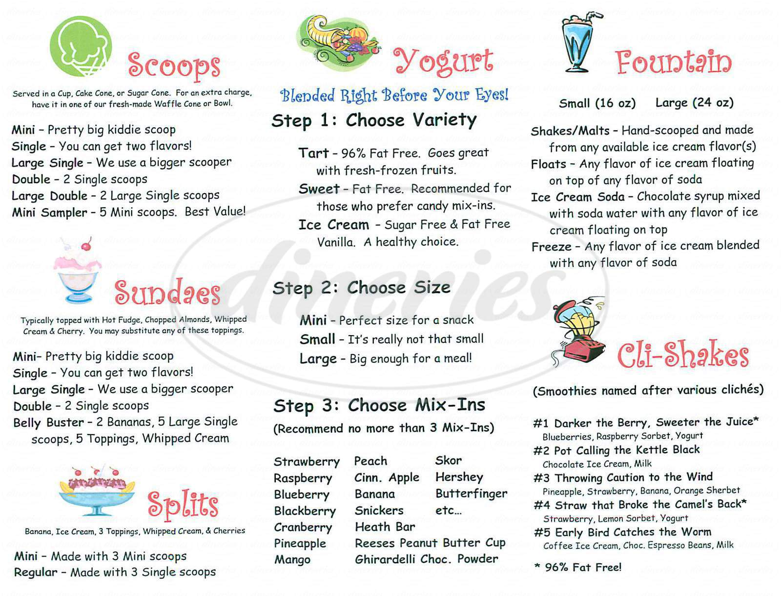 menu for Sweet Retreat