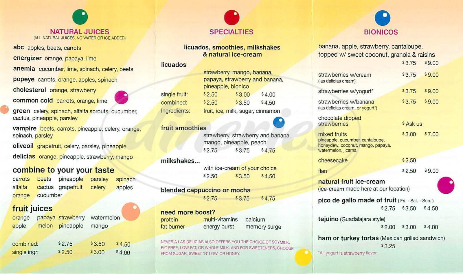 menu for Neveria Las Delicias