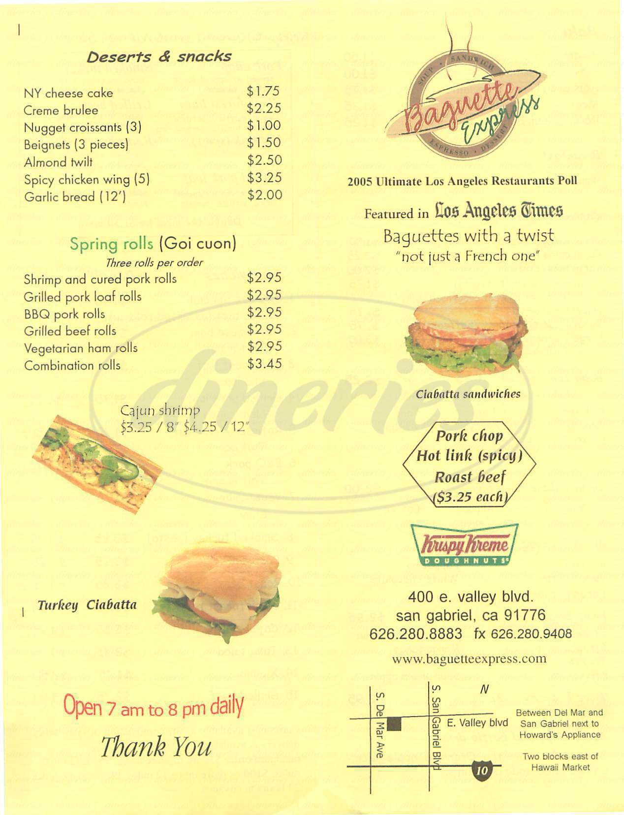 menu for Baguette Express