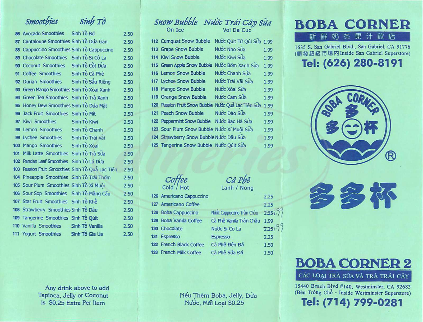 menu for Boba Corner