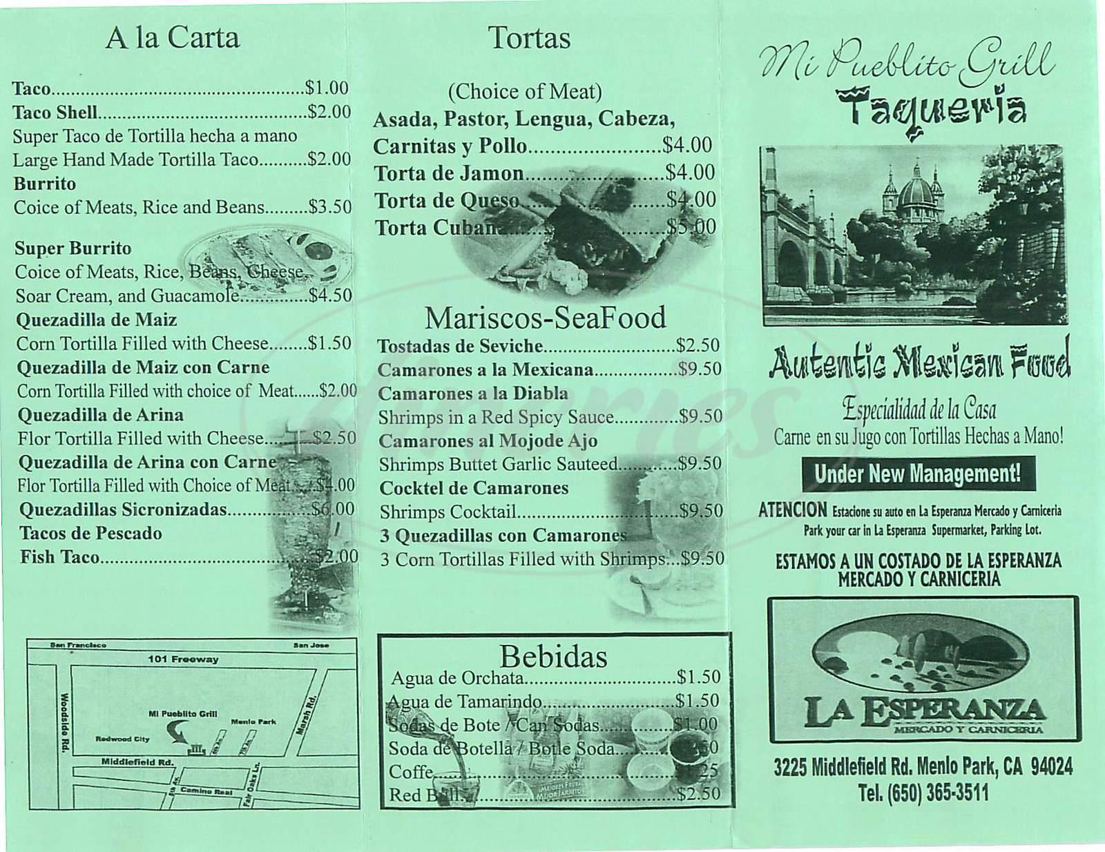 menu for Mi Pueblito Grill