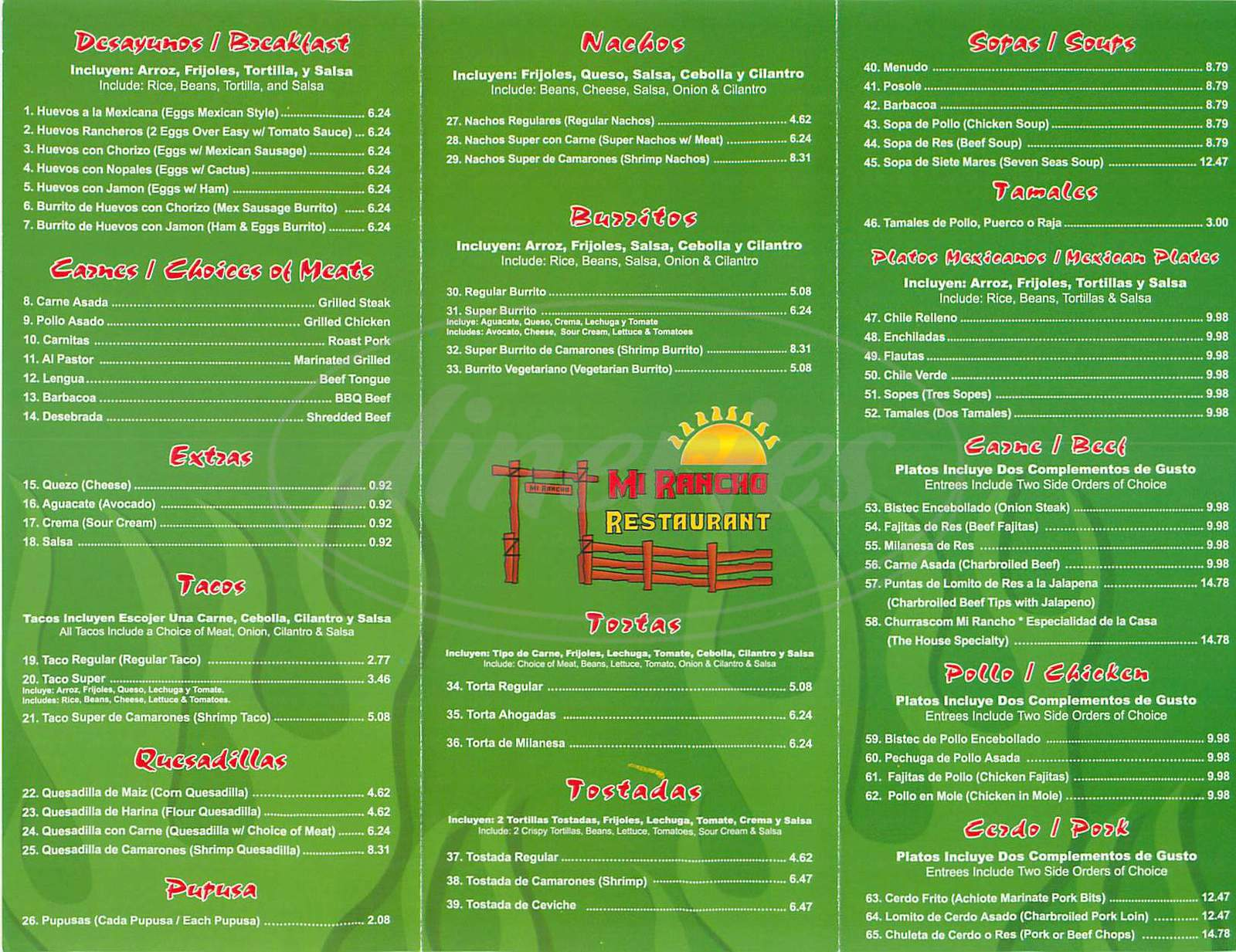 menu for Mi Rancho Restaurant
