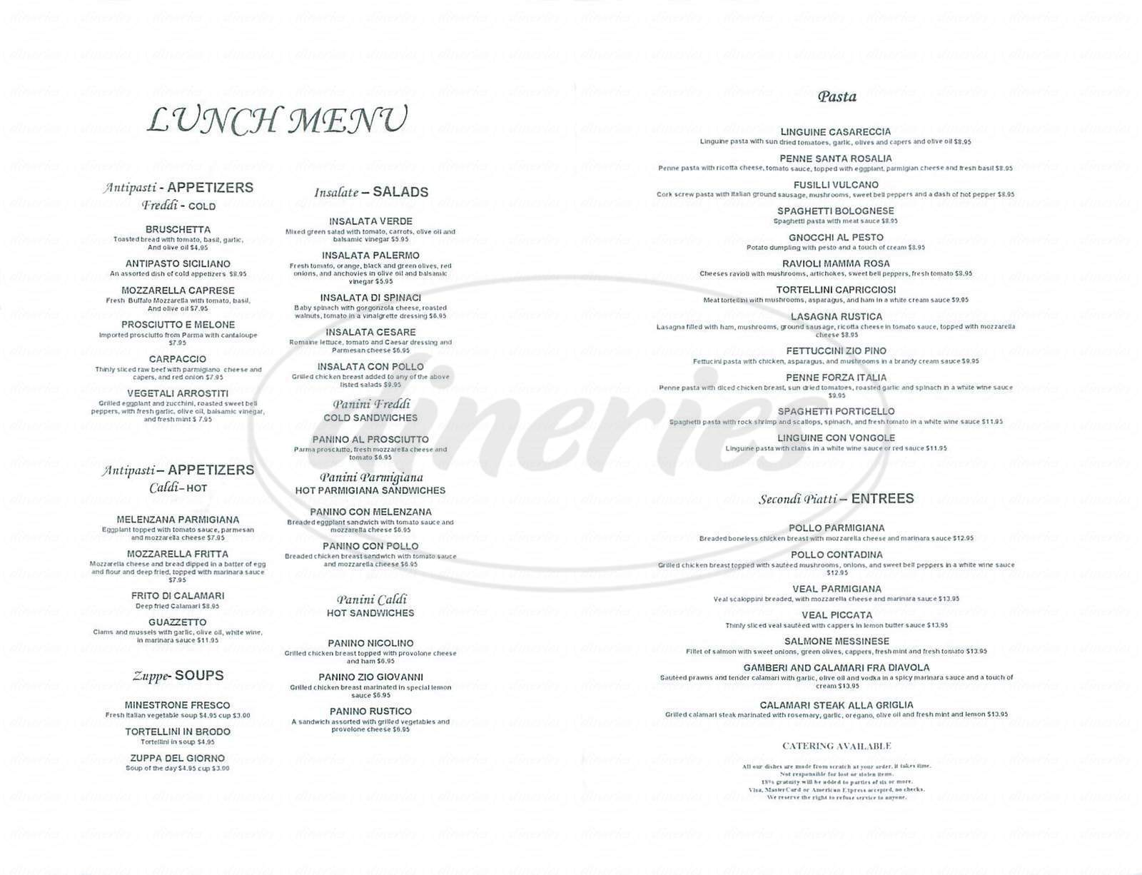 menu for Siciliano Ristorante