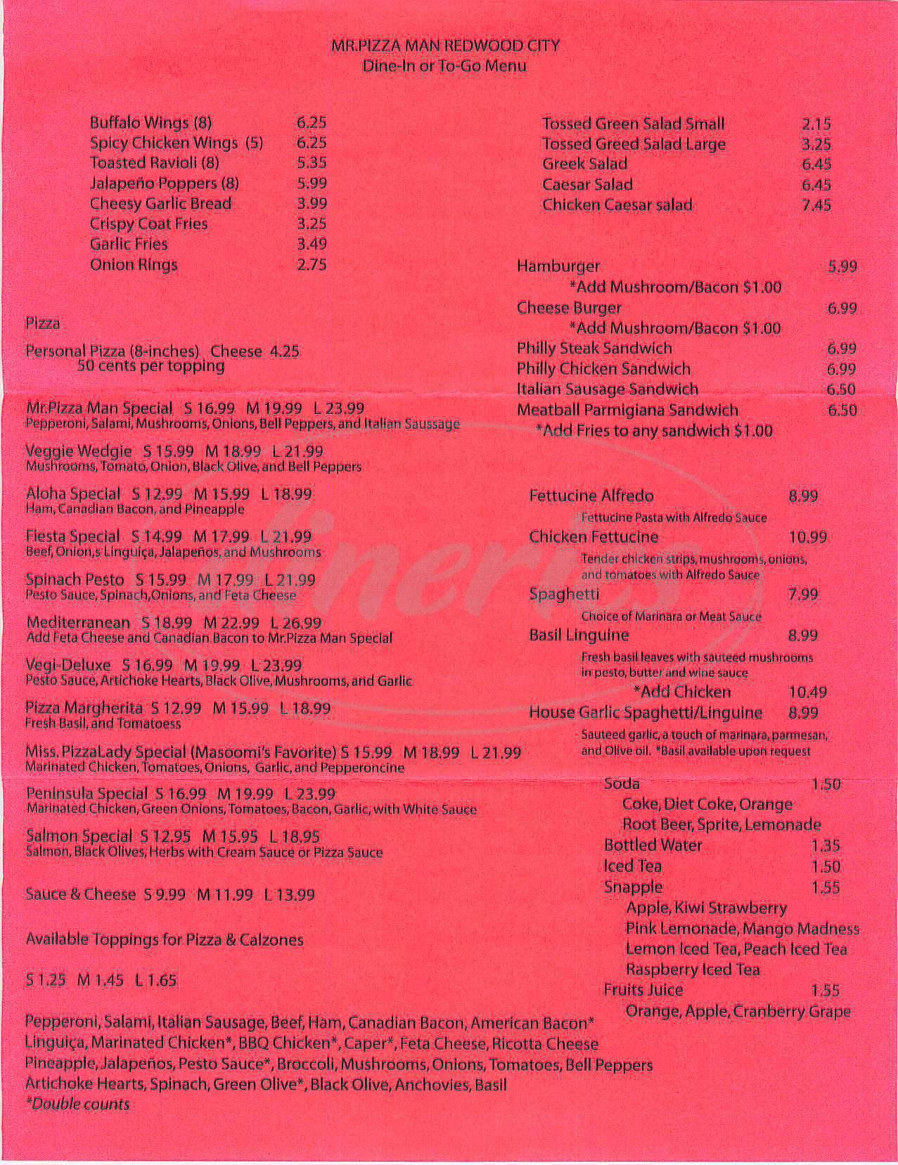 menu for Mr. Pizza Man