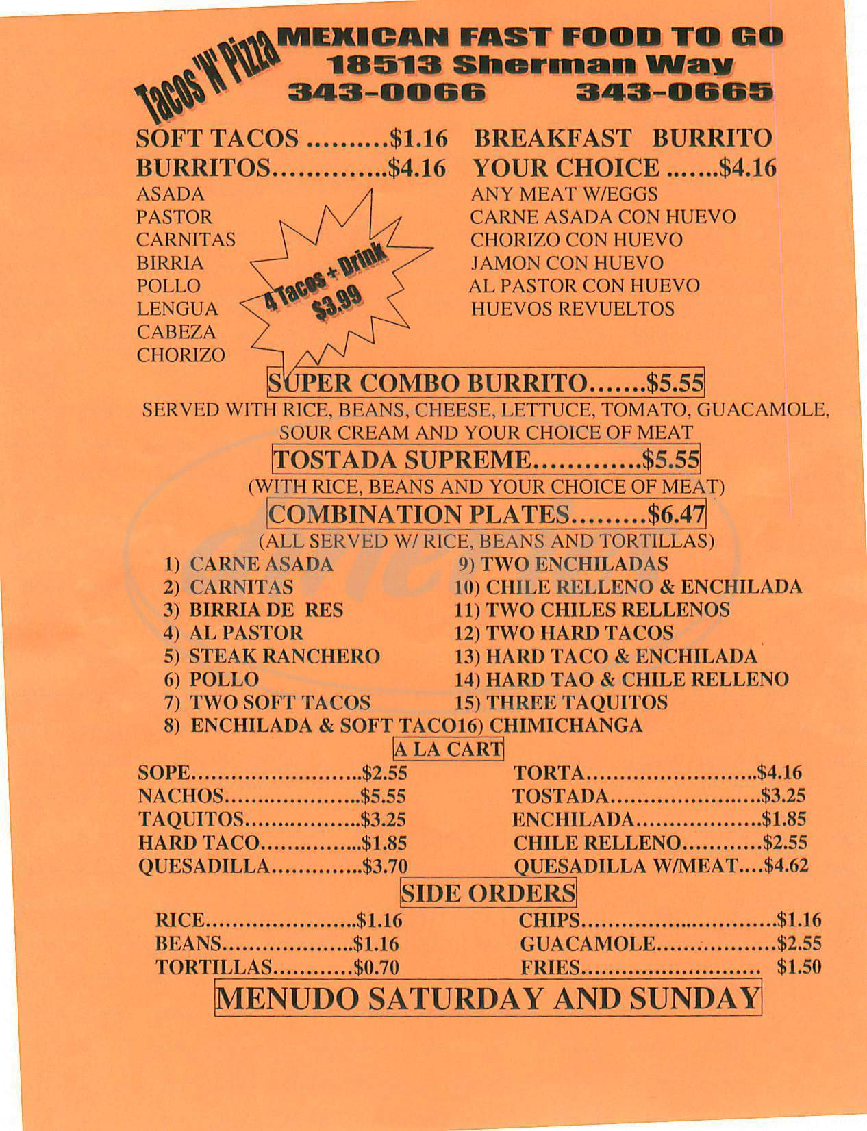 menu for Tacos N Pizza
