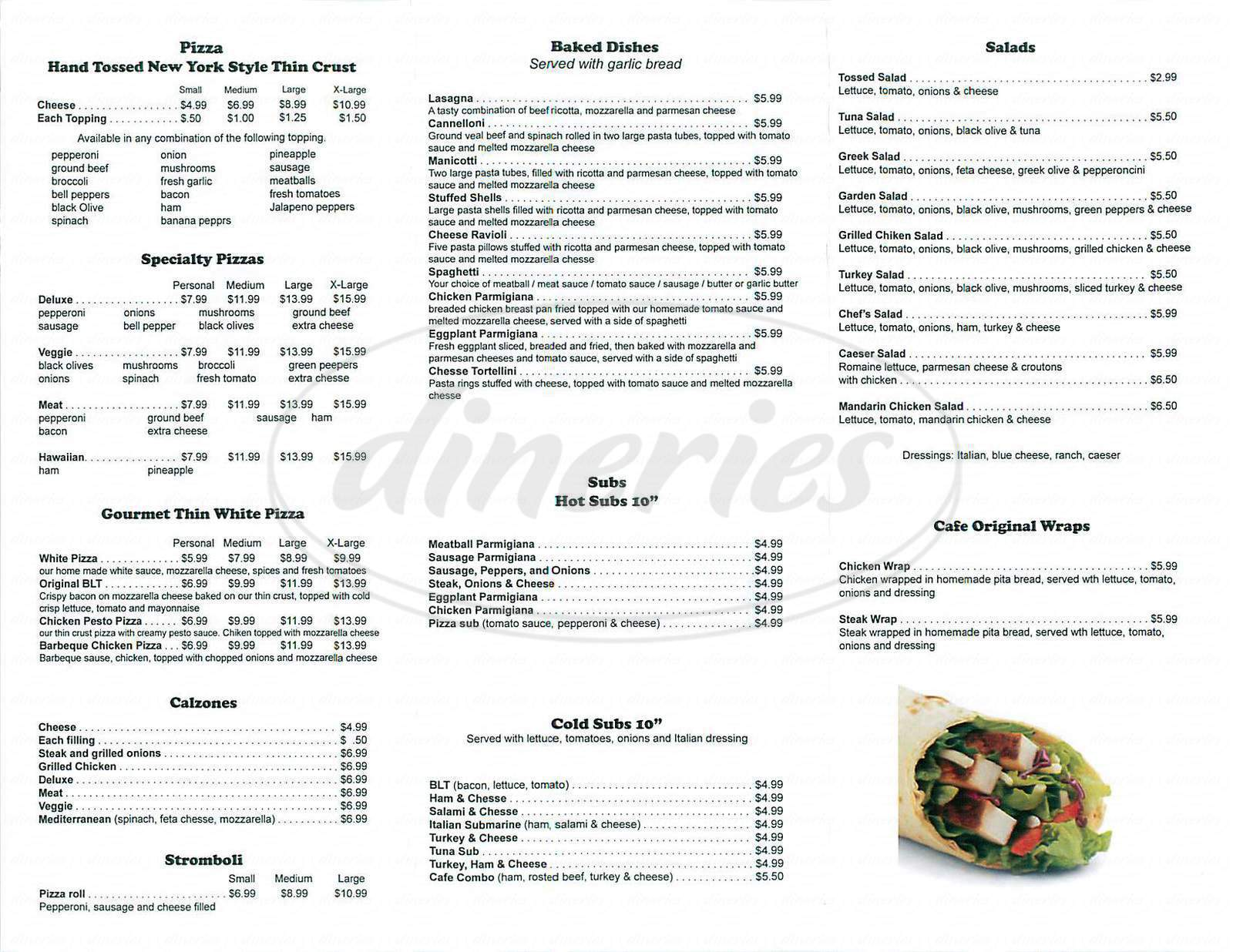 menu for Pizza Cafe