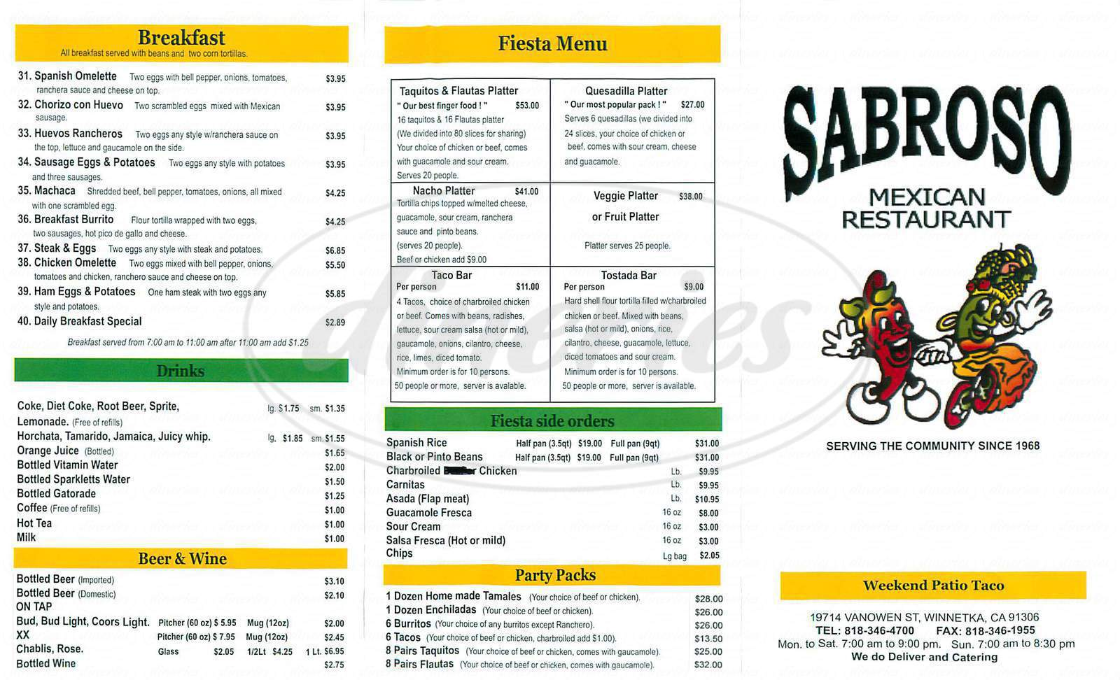 menu for Sabroso