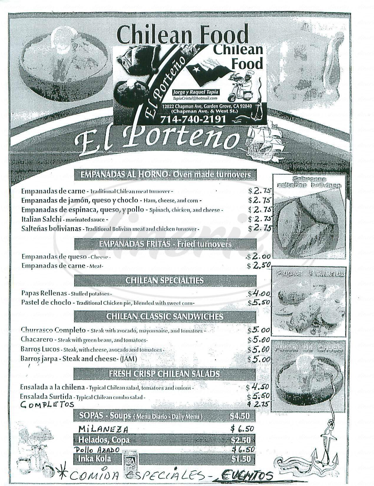 menu for El Porteno