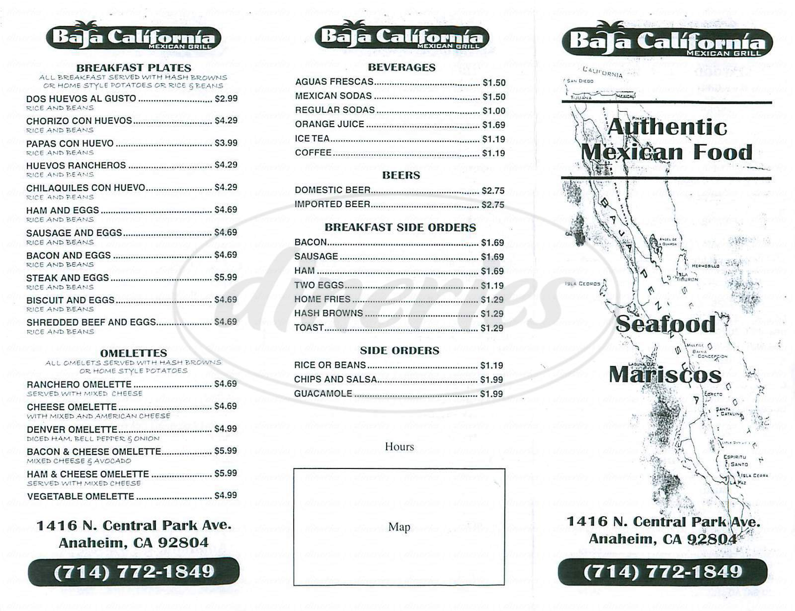 menu for Baja California Mexican Grill