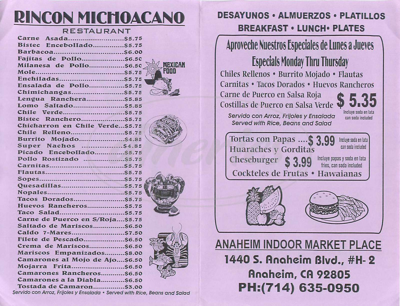 menu for Rincon Michoacano
