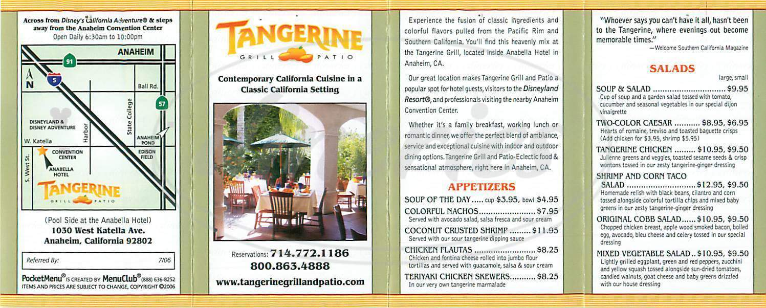 menu for Tangerine Grill