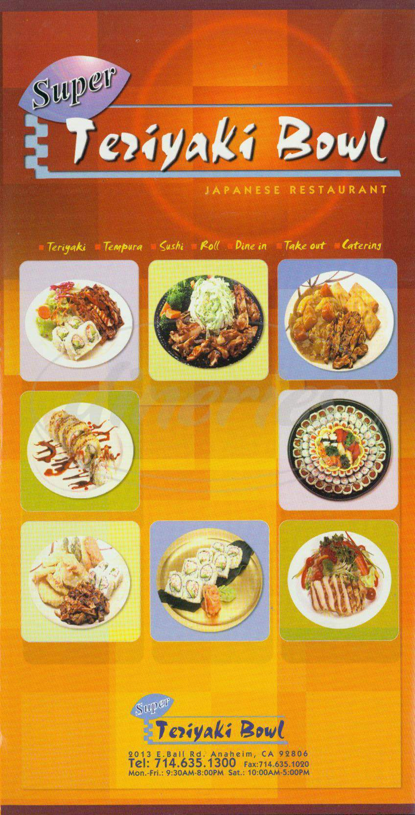 menu for Super Teriyaki Bowl