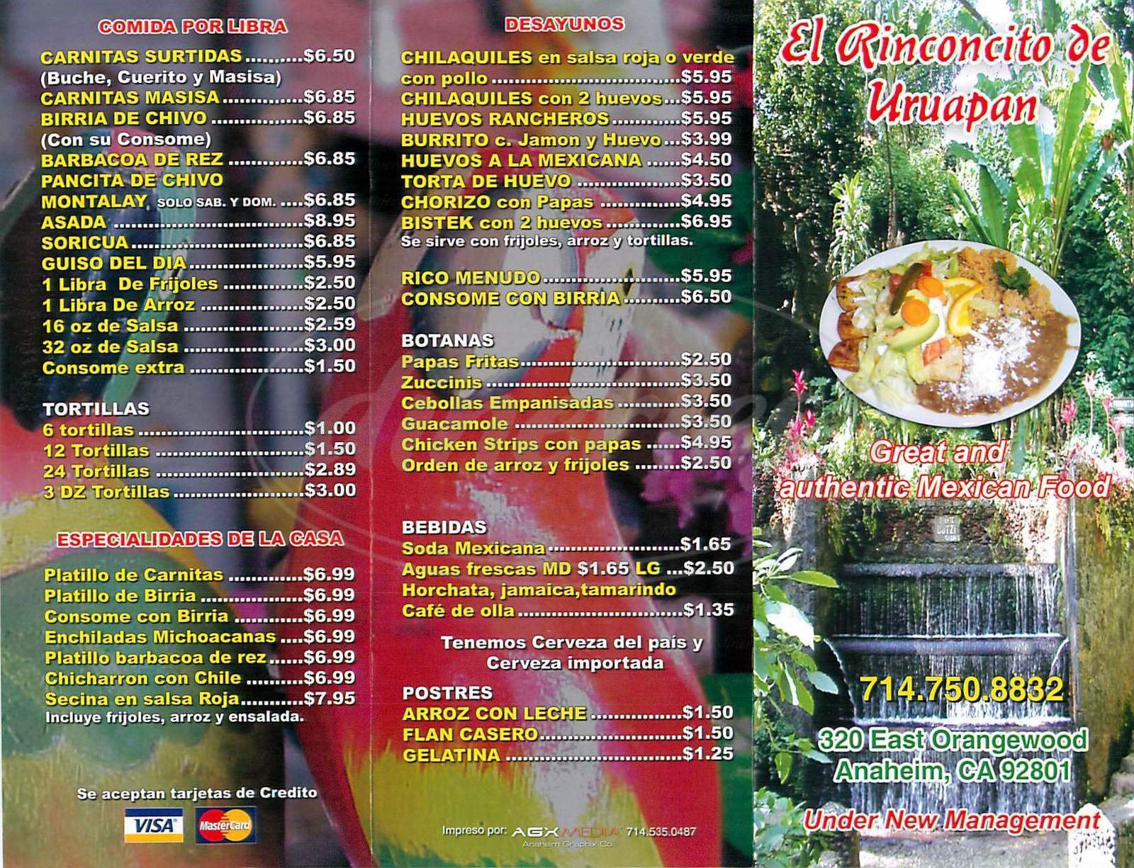 menu for El Rinconcito de Uruapan