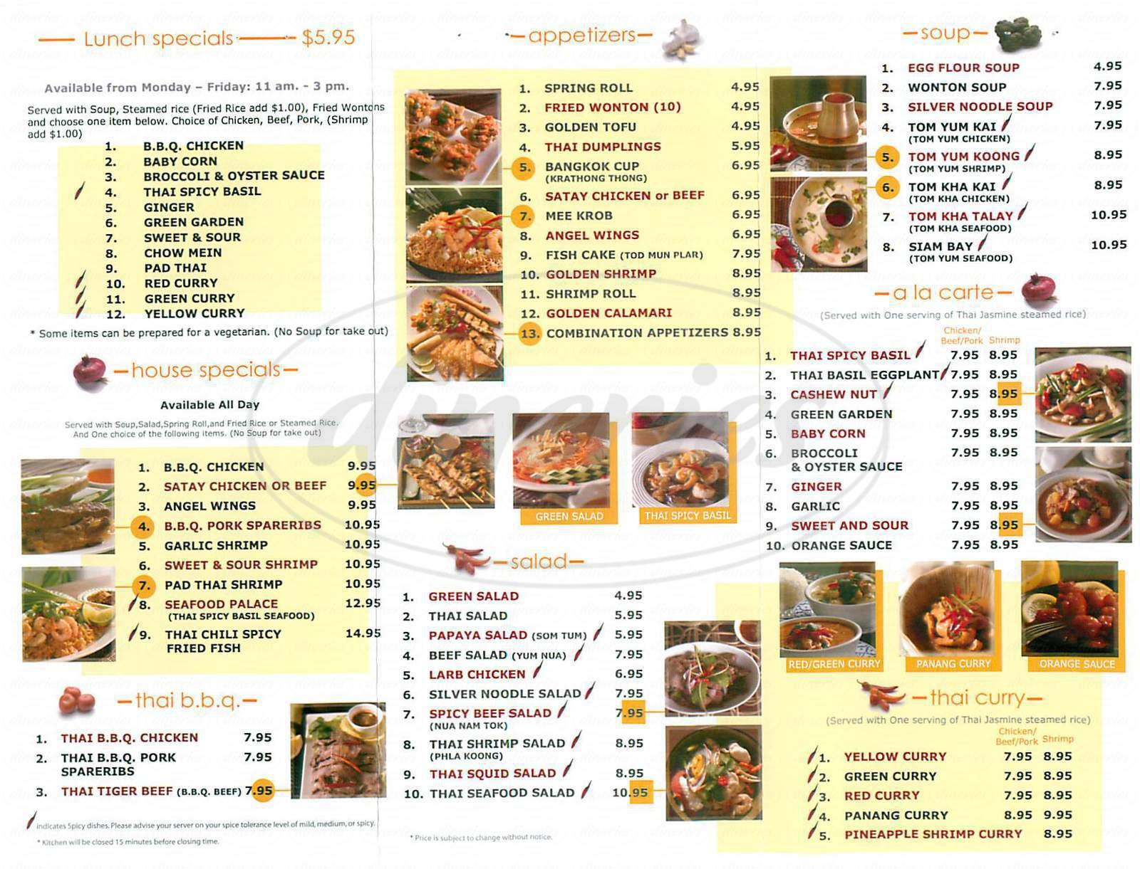 menu for Thai Chili