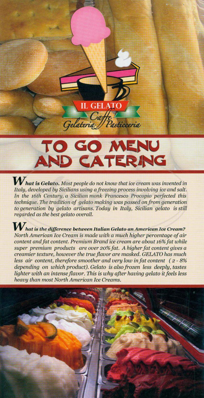 menu for Il Gellato