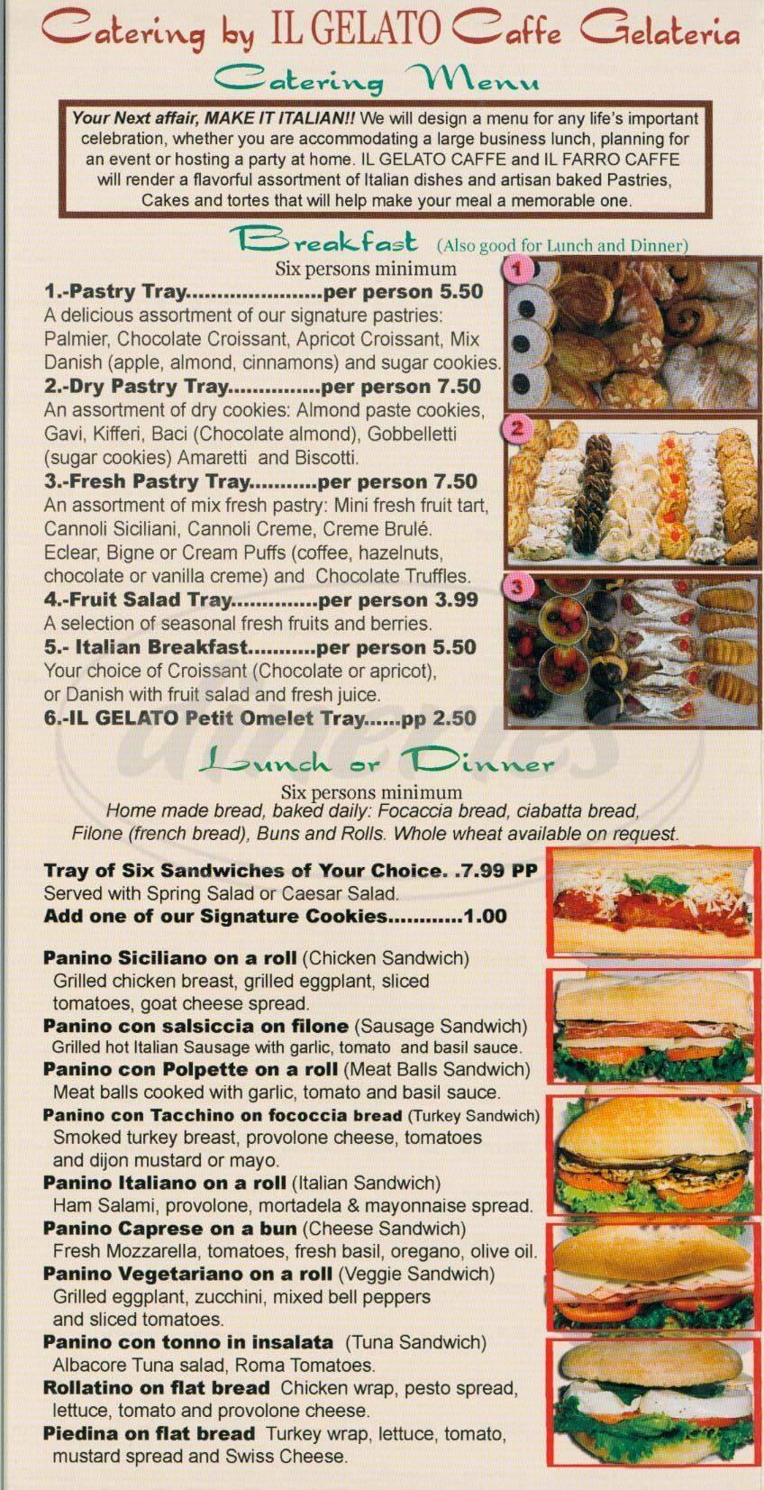 menu for Il Gellato