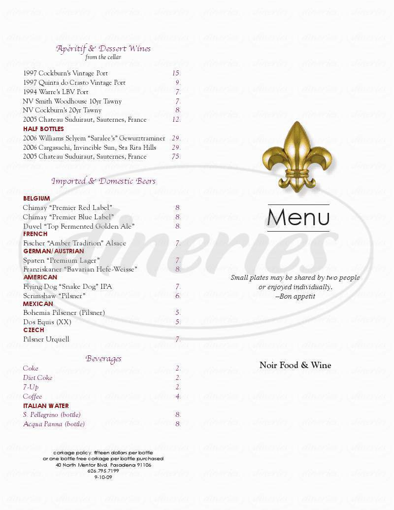 menu for Noir Food & Wine