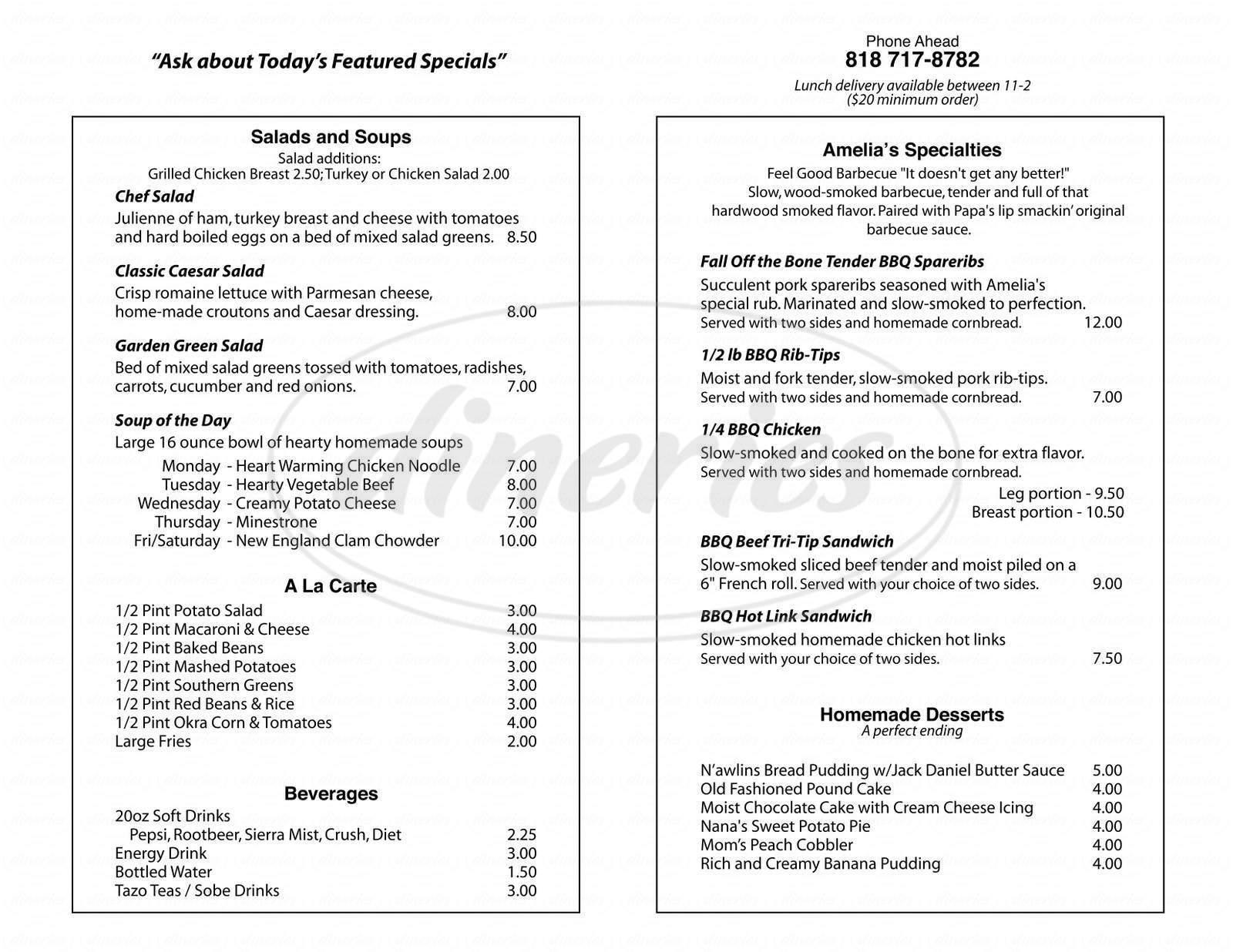 menu for Amelia's Place