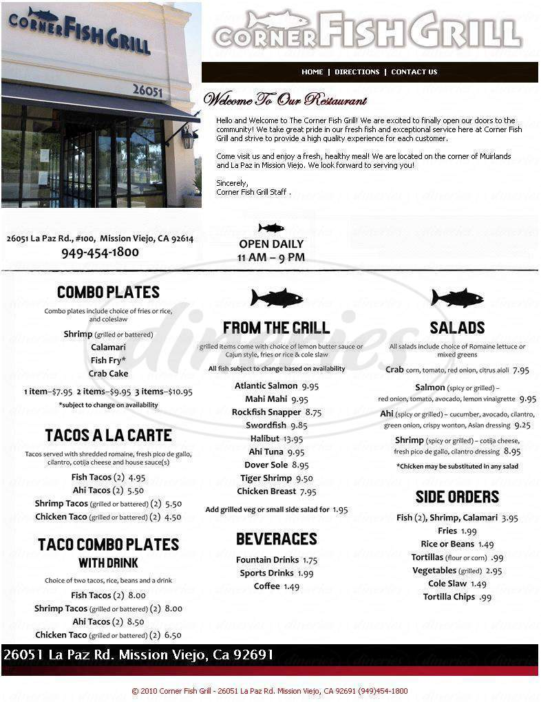 Corner fish grill closed menu mission viejo dineries for California fish grill menu
