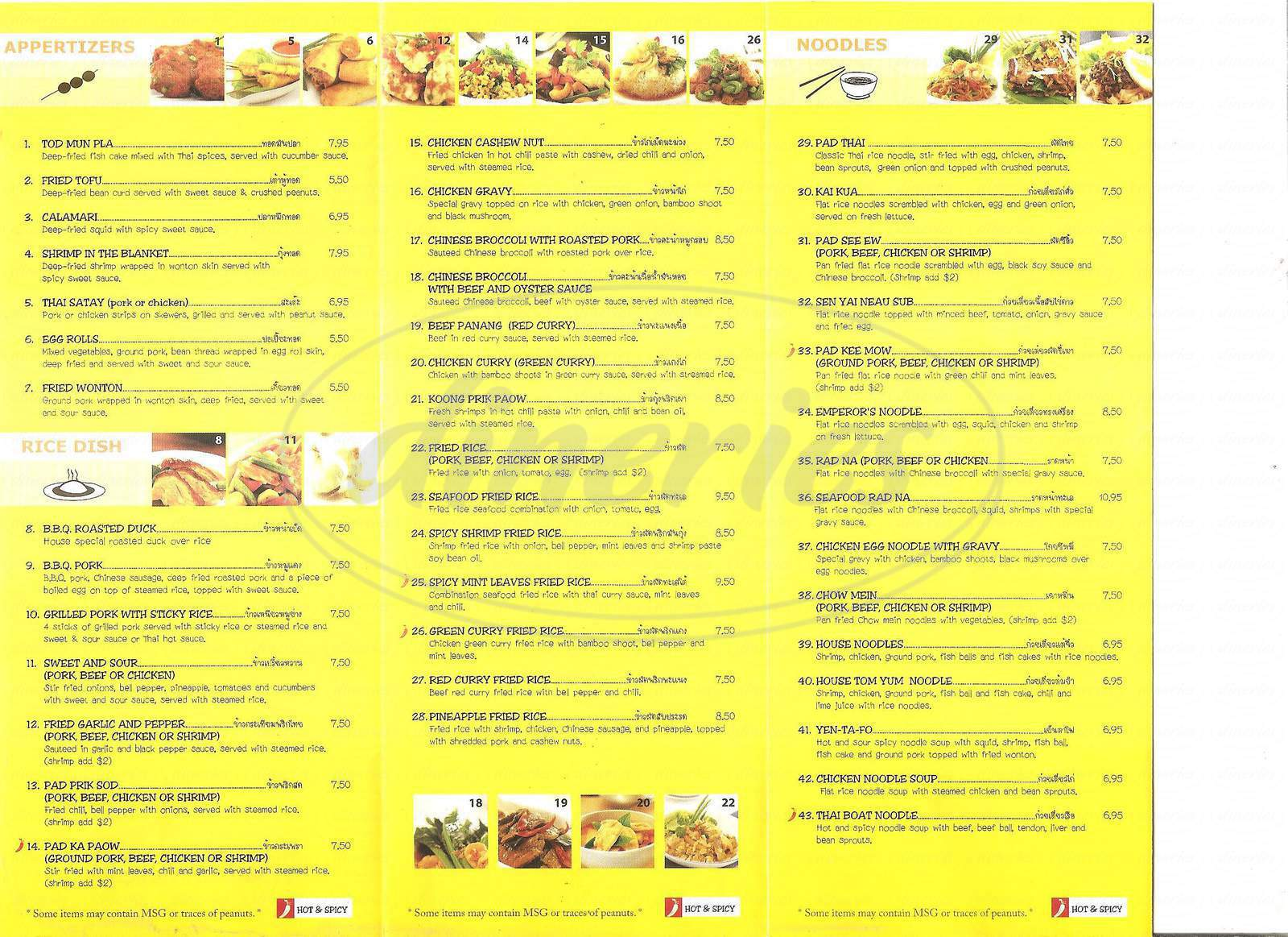 menu for Nine and Nine Thai Kitchen