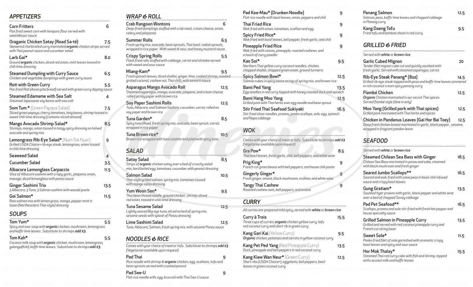 menu for Summer Summer Thai Eatery