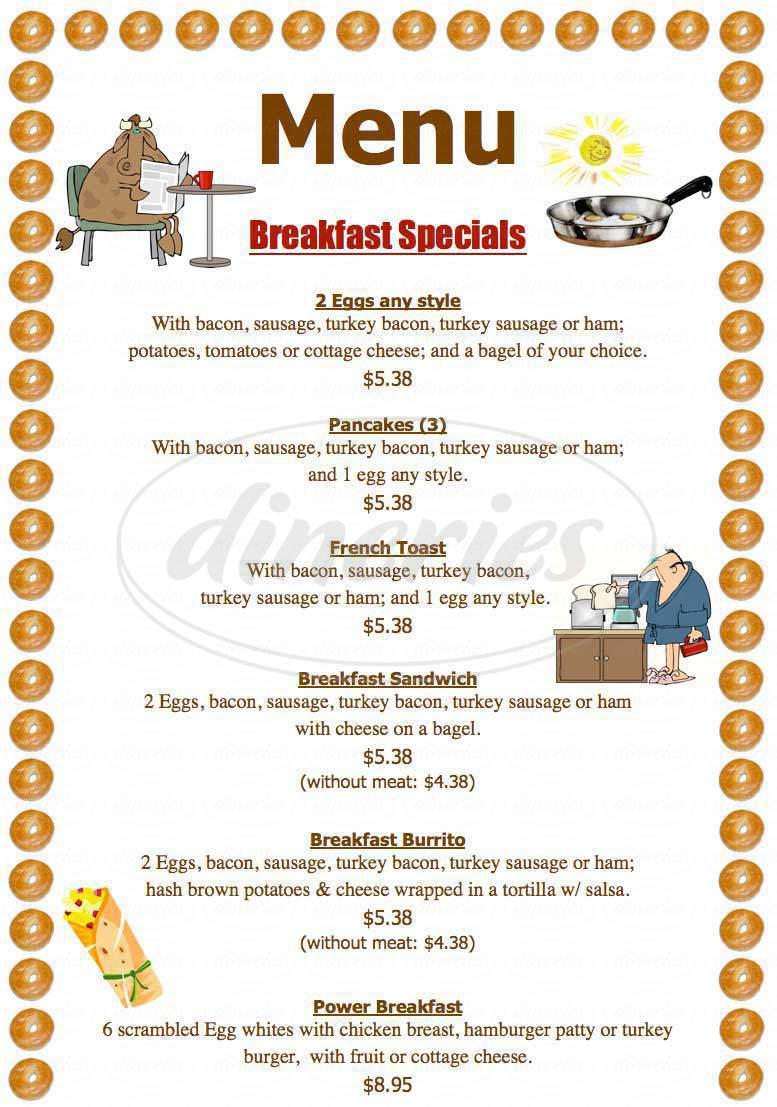 menu for Bagel Nosh Deli