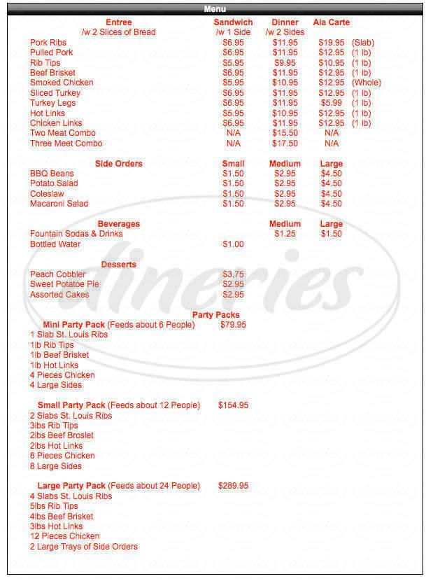 menu for Walker's BBQ Smoke Pit