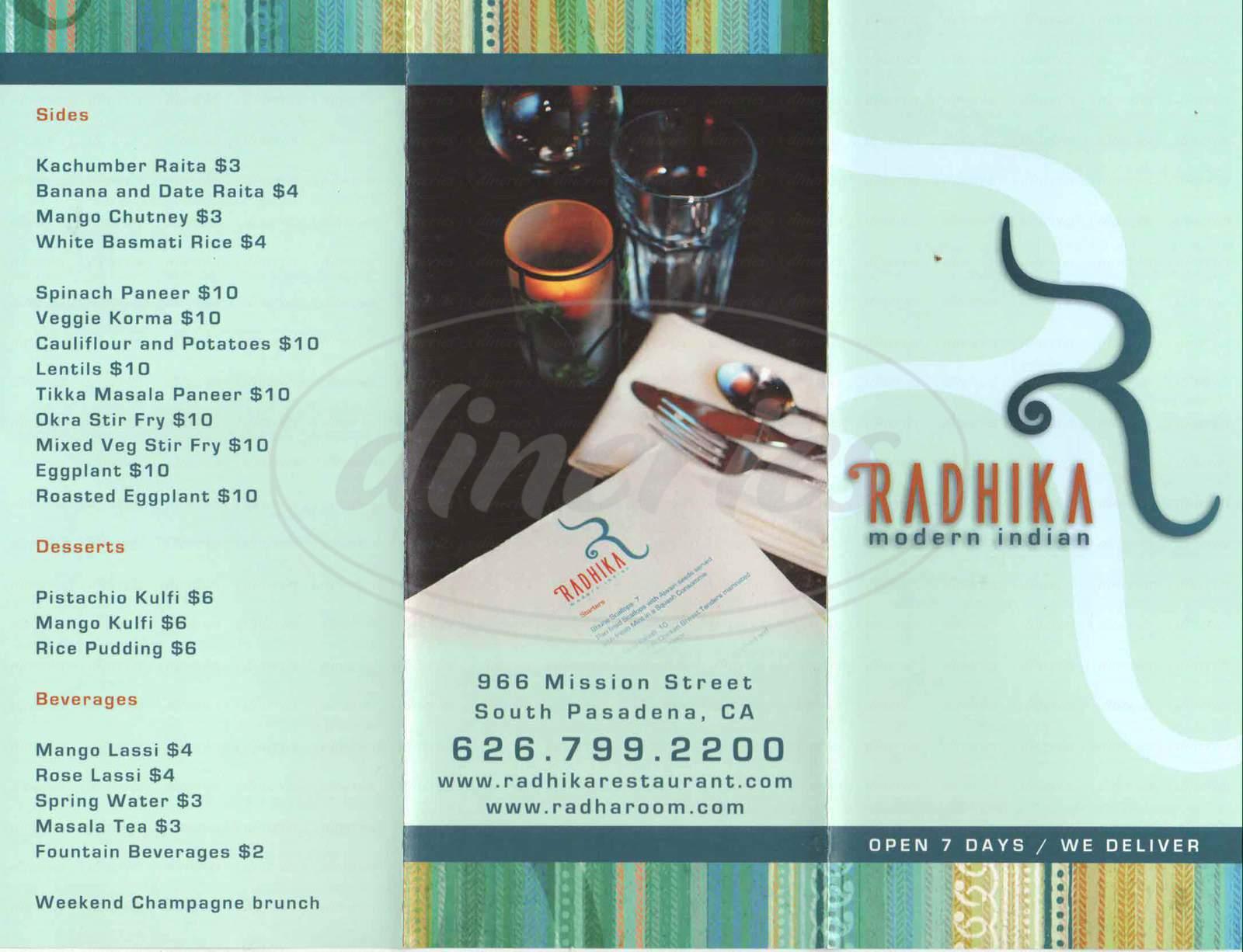 menu for Radhika